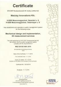 MSZ EN ISO 9001:2015 certificate
